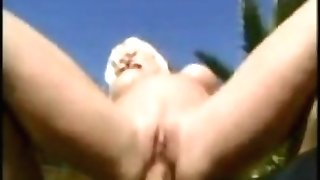 huge-boobed blonde inhales and fucked on beach