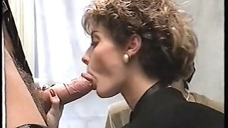 Rocco gets two femmes in restroom