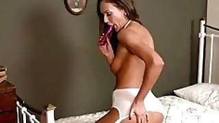 Horny Brown-haired Fucktoys In Antique Retro Undergarments Nylon High-heeled Slippers