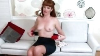 """red-haired Zoe Page Peels Off Retro Crimson Underwear To Taunt Pert Tits Raw Vagina"""