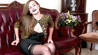 Brown-haired Bursting To Jizm In Antique Corset And Nylons Wank